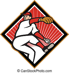 American Baseball Pitcher Throwing Ball Cartoon -...