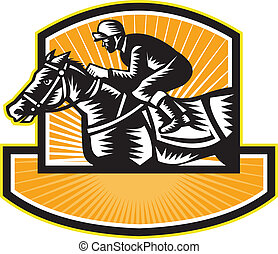 Horse Racing Side Woodcut Retro - Illustration of a horse...