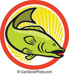 Largemouth Bass Jumping Cartoon Circle - Illustration of a...
