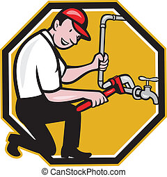 Plumber Repair Faucet Tap Cartoon - Illustration of a...