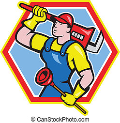 Plumber Holding Plunger Wrench Cartoon - Illustration of a...