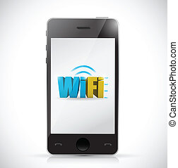phone free wifi connection illustration design