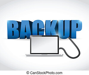 Backup sign connected to a laptop.
