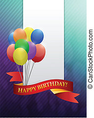 happy birthday ribbon card illustration design