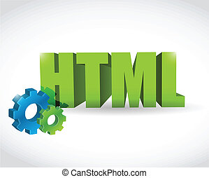 html sign illustration design over a white background