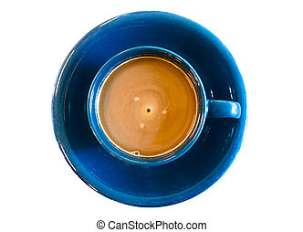 top view of a blue cup of coffee isolated on white background