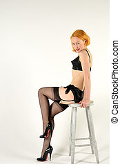 Pin up sitting on chair - Sexy Pin up sitting on chair