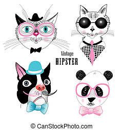 set of animal hipster - graphic funny set of different...