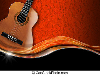 Acoustic Guitar on Luxury Background - Acoustic Guitar on...