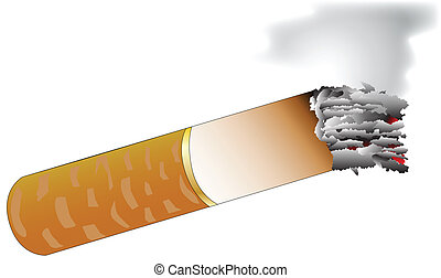 Cigarettes - A few tipped cigarettes isolated on a white...