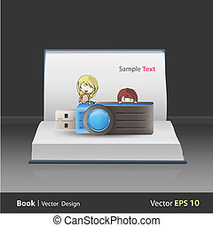 hfdsKids holding blue pendrive on book. Vector design - Kids...