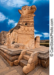 Big statue of Nandi Bull in front of Hindu Temple - Big...