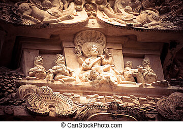 Amazing stone bas relief with Hindu God pantheon at...