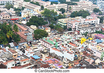 Cityscape of crowded Indian city - Thanjavur Trichy city...