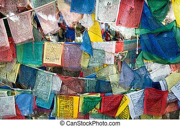 Praying flags at Buddhist monastery. India, Ladakh, Spituk...