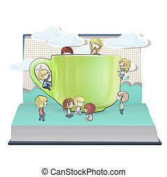Many kids with cup inside a book. Vector design.
