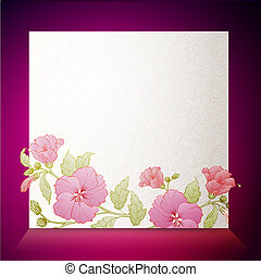 Vintage hibiscus flower on white background.