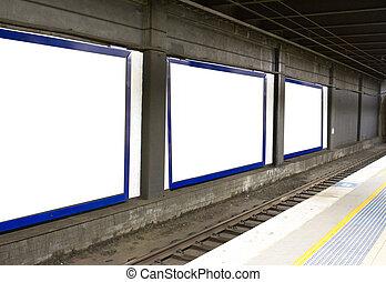 tunnel hoardings - Railway tunnel hoardings placed in train...