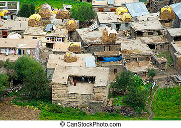 Small Indian village hidden in Himalaya mountains. India....