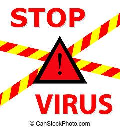 """Warning sign """"Stop Virus"""""""