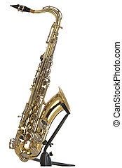 Tenor sax in boxed puzzle - Brass tenor saxophone with...