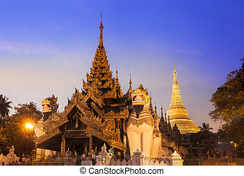 Shwedagon Pagoda in Yangon, Myanmar (Burma). - The Shwedagon...