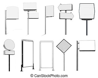 Collection of many advertising banner billboard and sign...