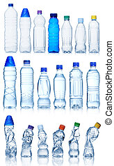 Collection of water bottles isolated on white background