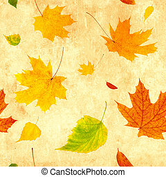 Seamless grunge background with flying autumn leaves of a...
