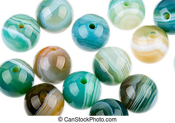 Round agate beads - Round Agate beads in blue, green and...