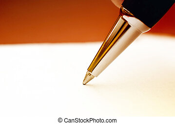 Ballpoint pen, macro shot - Ballpoint pen on white paper,...