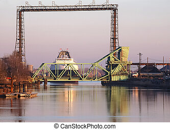 Coal Ship at Rr Bridge - Coal Ship at Bridge in Detroit...