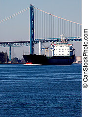 Detroit River Shipping - Ships on Detroit river to factories...