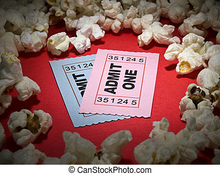 Movie stub - Close up shot of two generic admission tickets...