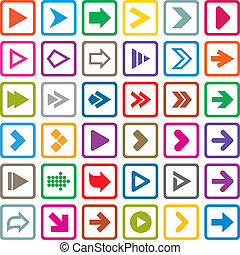 Arrow sign icon set. Internet buttons on white - Arrow sign...