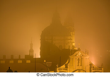 Fog by night in Prague