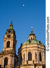 Prague baroque church with moon