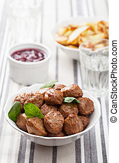 swedish meatballs with potatoes and lingon jam - swedish...