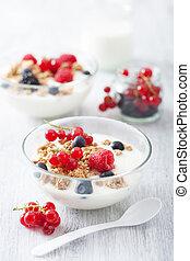 sano, desayuno, yogur, granola