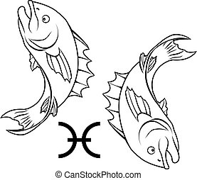 Pisces zodiac horoscope astrology sign - Illustration of...