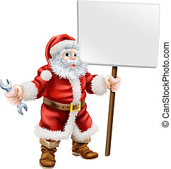 Santa holding spanner and sign - Cartoon illustration of...