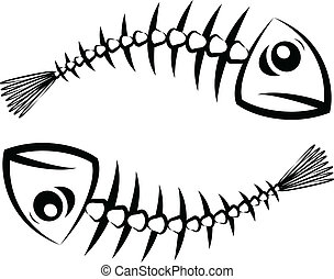 Fish silhouette - Two black fish skeleton on white...