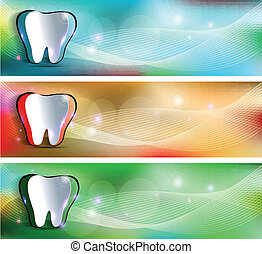 Dental banners, various colors Beautiful and bright designs...