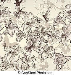 Beautiful vector seamless wallpaper - Vector seamless...
