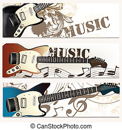 Brochure vector set on music theme - Vector backgrounds set...