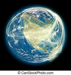 Connected world North America view - North America on planet...