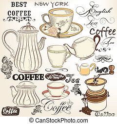 Collection of vintage vector decora - Vector set of hand...