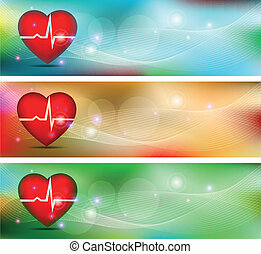 Human heart health care conceptual banners. Beautiful bright...