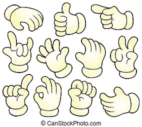 Cartoon hands theme collection 1 - eps10 vector illustration...