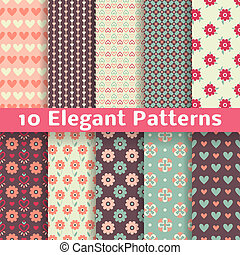 Elegant romantic vector seamless patterns tiling Retro - 10...